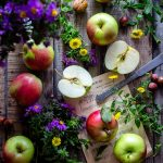 apples, garden, wooden desk